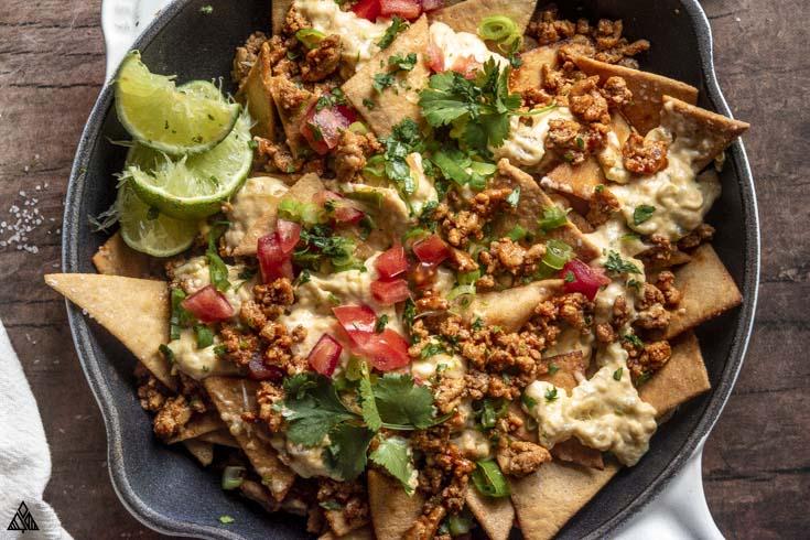 closer look of low carb nachos