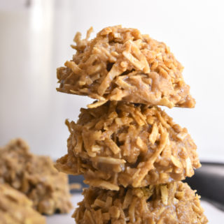 Stack of low carb no bake peanut butter cookies