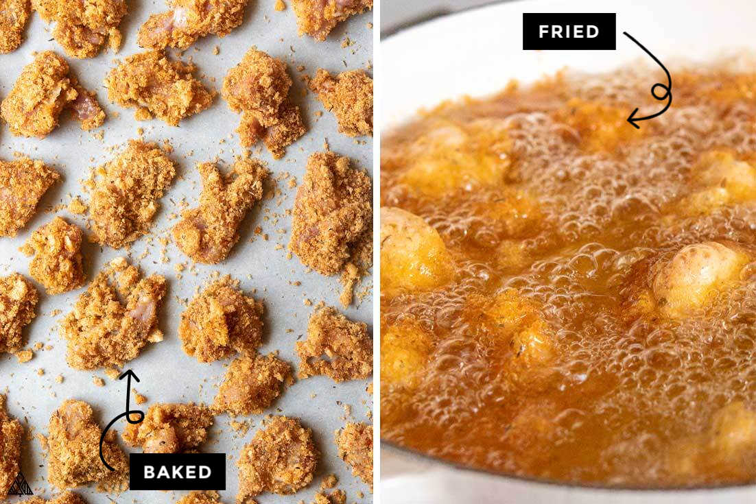 Process of making low carb popcorn chicken