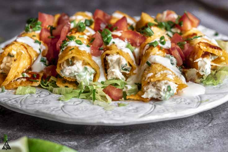Side view of low carb taquitos in a plate