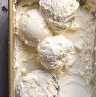 Top view of low carb vanilla ice cream