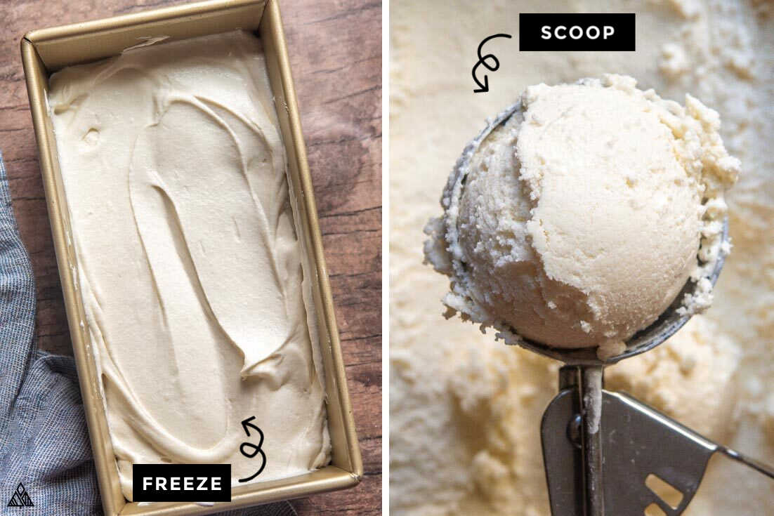 Collage of how to prepare low carb vanilla ice cream