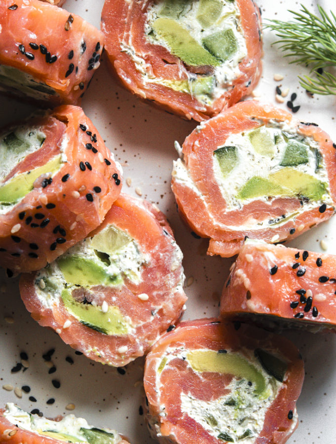 Smoked Salmon Roll Ups (1g Net Carbs!)