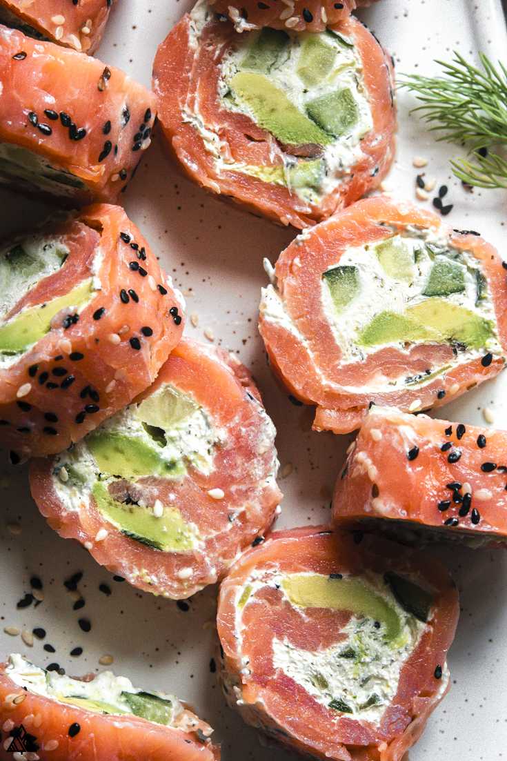 Top view of smoked salmon roll ups