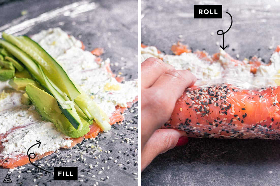 Collage of how to make smoked salmon roll ups
