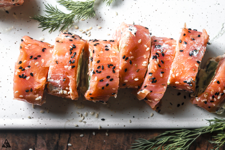 Sliced smoked salmon roll ups