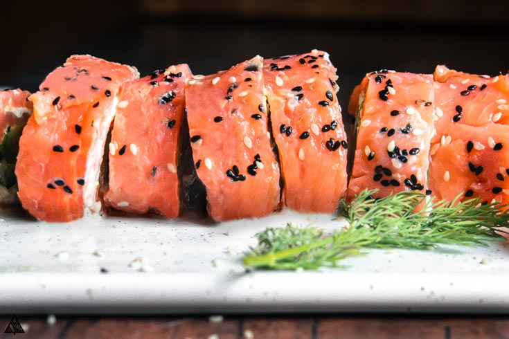 Closer look of smoked salmon roll ups