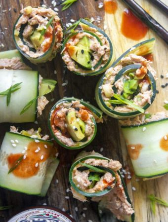 top view of Spicy Tuna Salad rolls