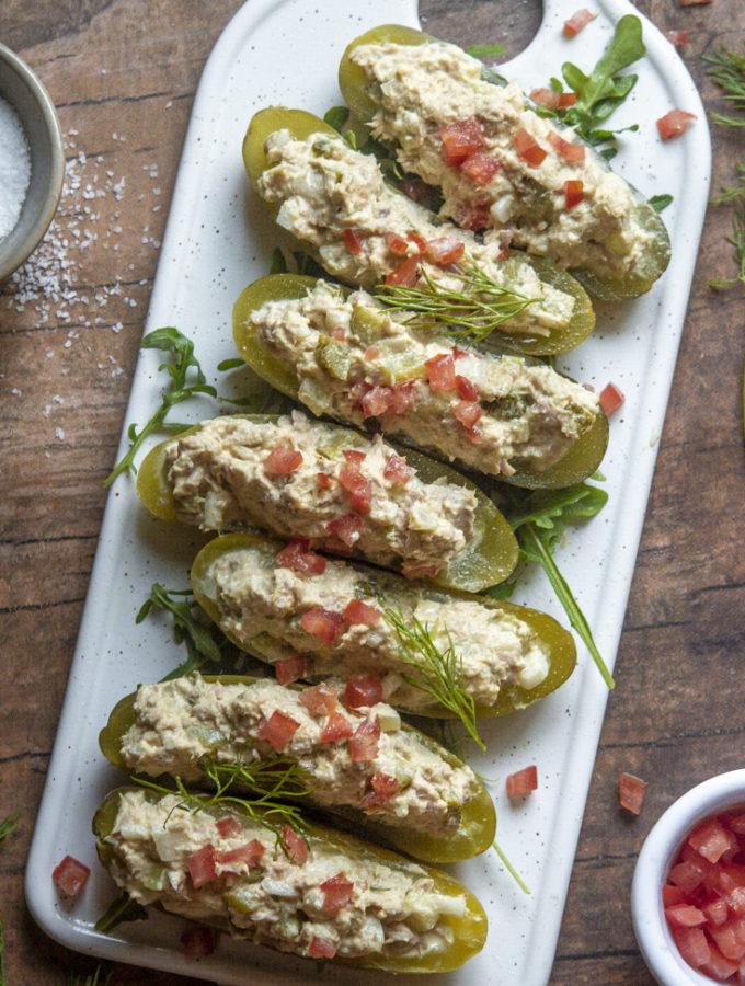 Tuna Salad Pickle Boats (0g Net Carbs!)