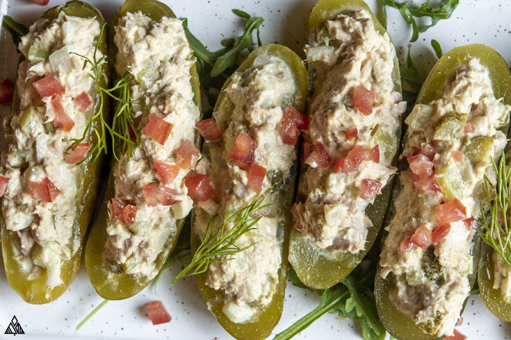 Top view of tuna salad pickle boats