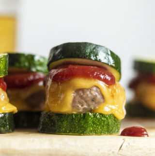 Turkey burger sliders on a cutting board
