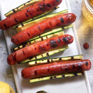 Top view of zucchini hotdogs