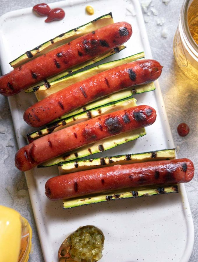Zucchini Hot Dogs (3 Ingredients!)
