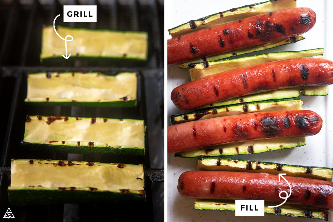 Collage of how to make zucchini hot dogs