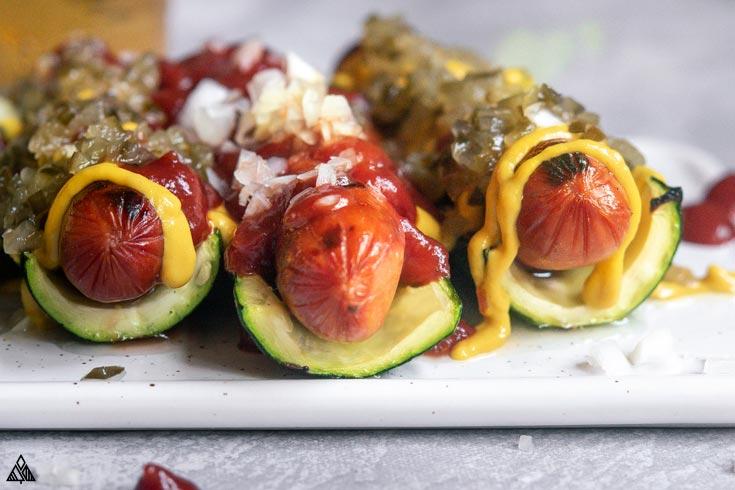 Closer look of zucchini hotdogs