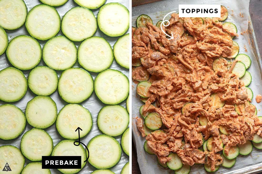 Collage of how to prepare zucchini nachos