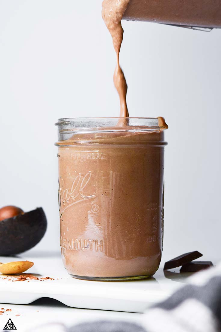 Low carb peanut butter smoothie in a glass