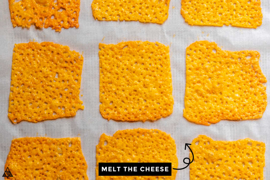 Baked cheese formed into squares
