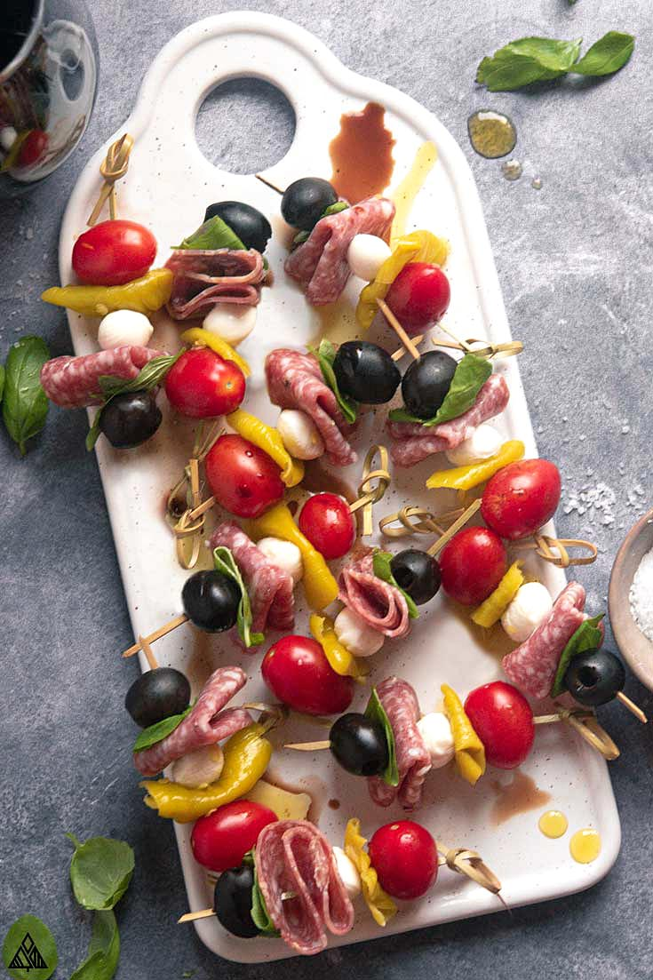top view of antipasto skewers