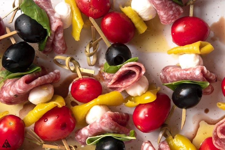 closer look of antipasto skewers