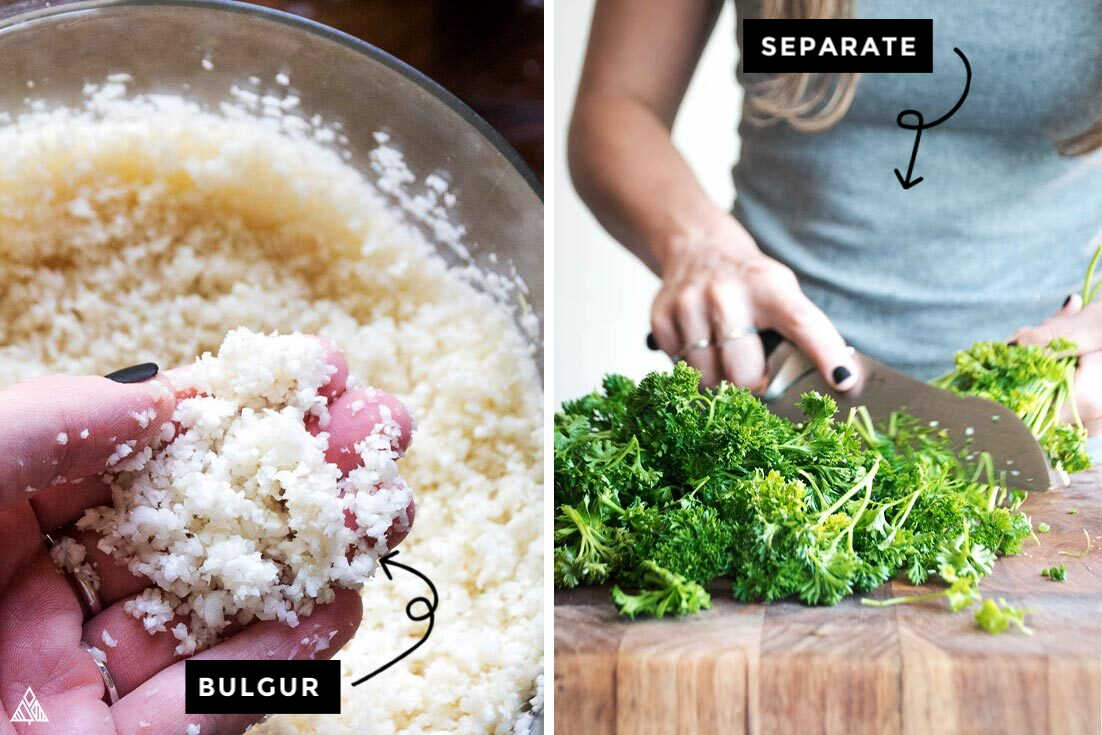 the steps for how to make cauliflower tabouleh