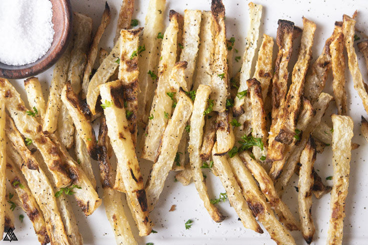 Closer look of jicama fries