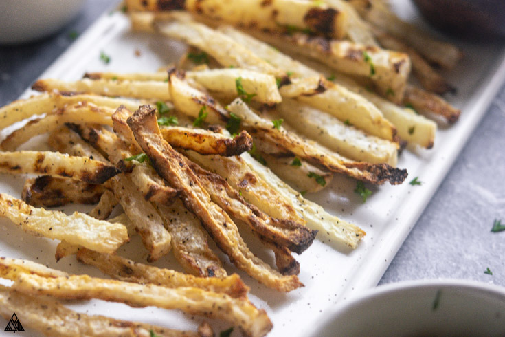 Side view of jicama fries