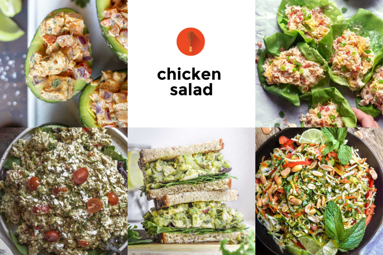 Collage of various chicken salad recipe