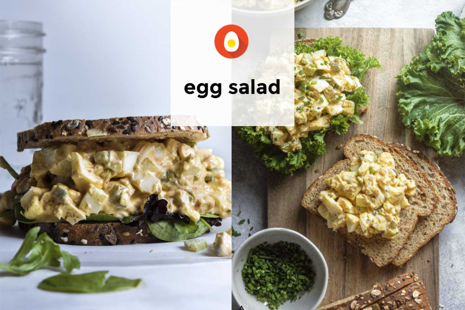 Collage of various egg salad recipe