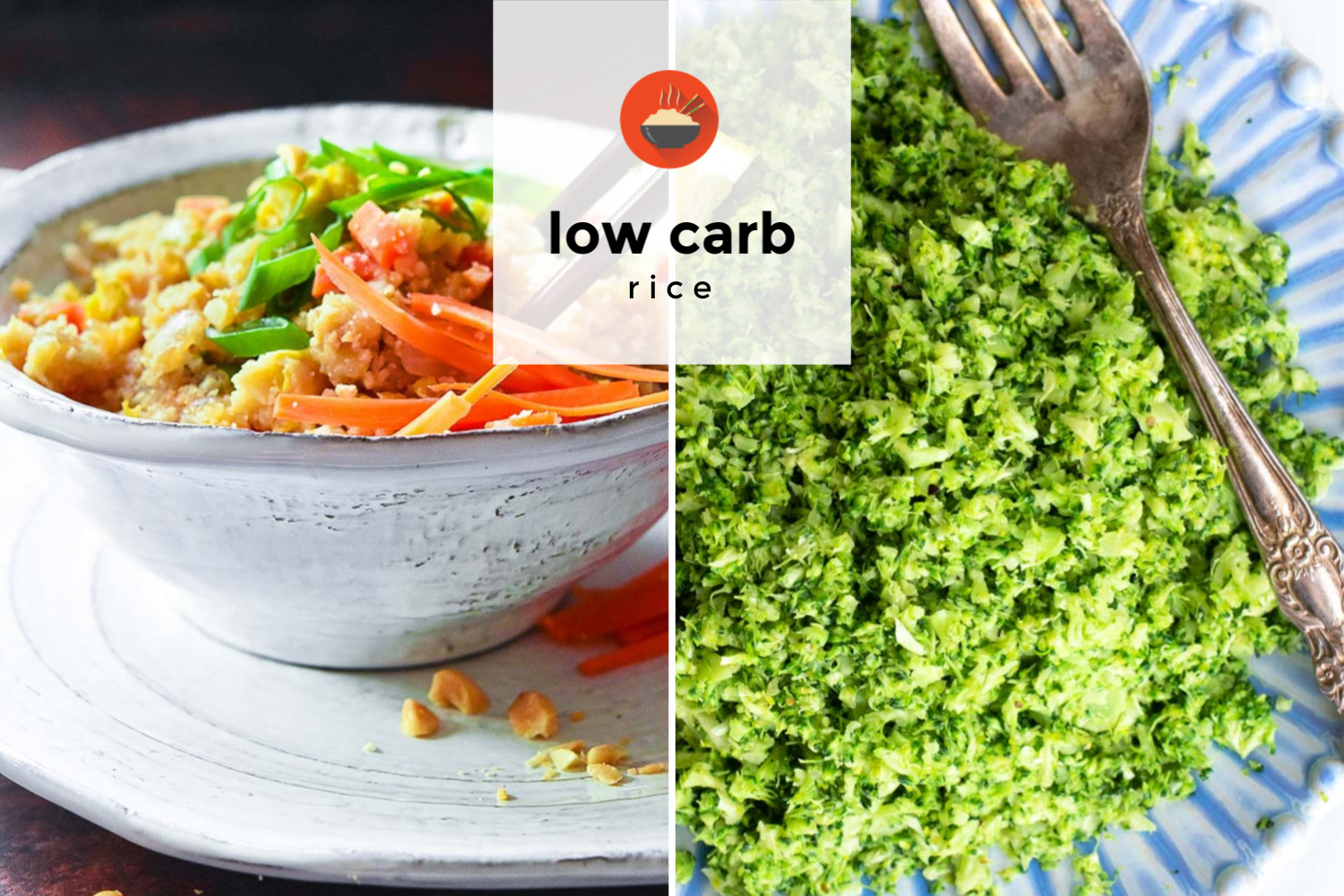 Collage of various low carb rice