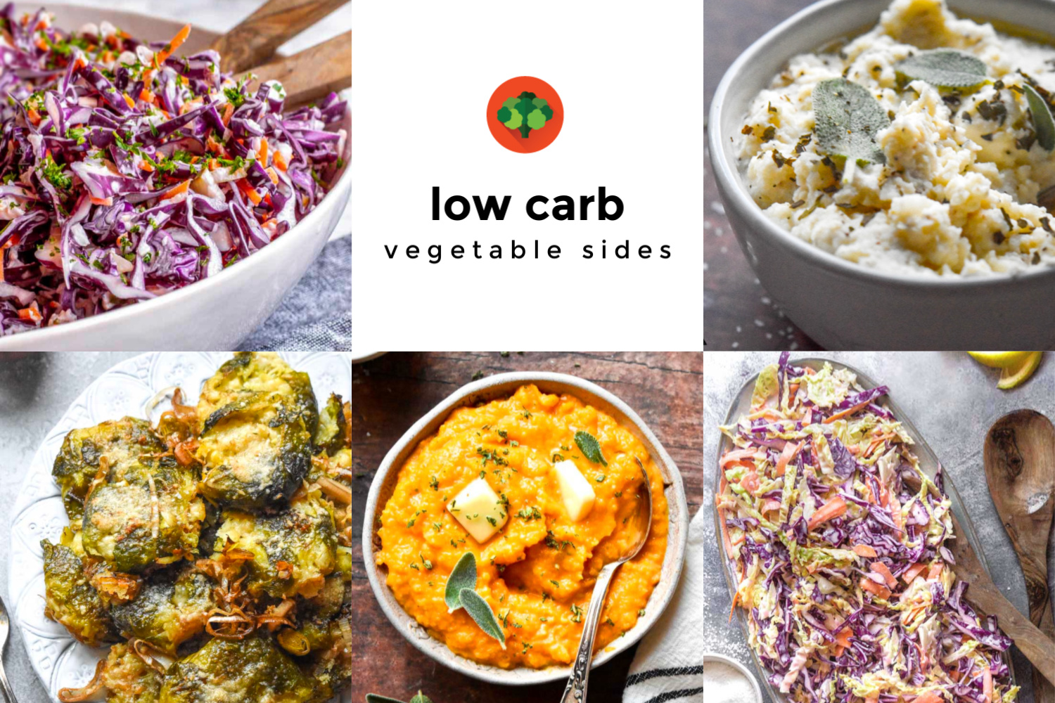 Collage of various low carb vegetable sides