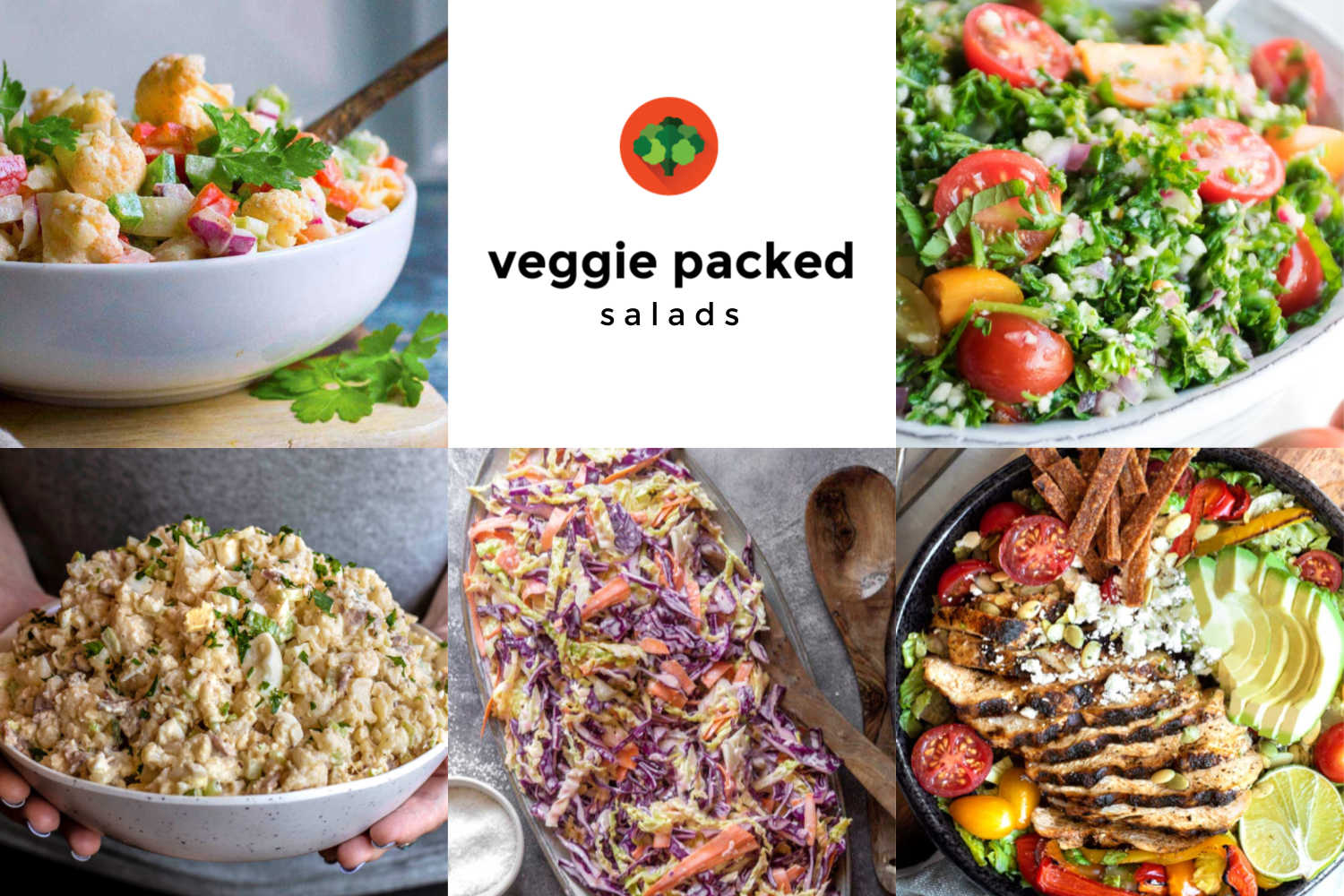 Collage of various veggie packed salads