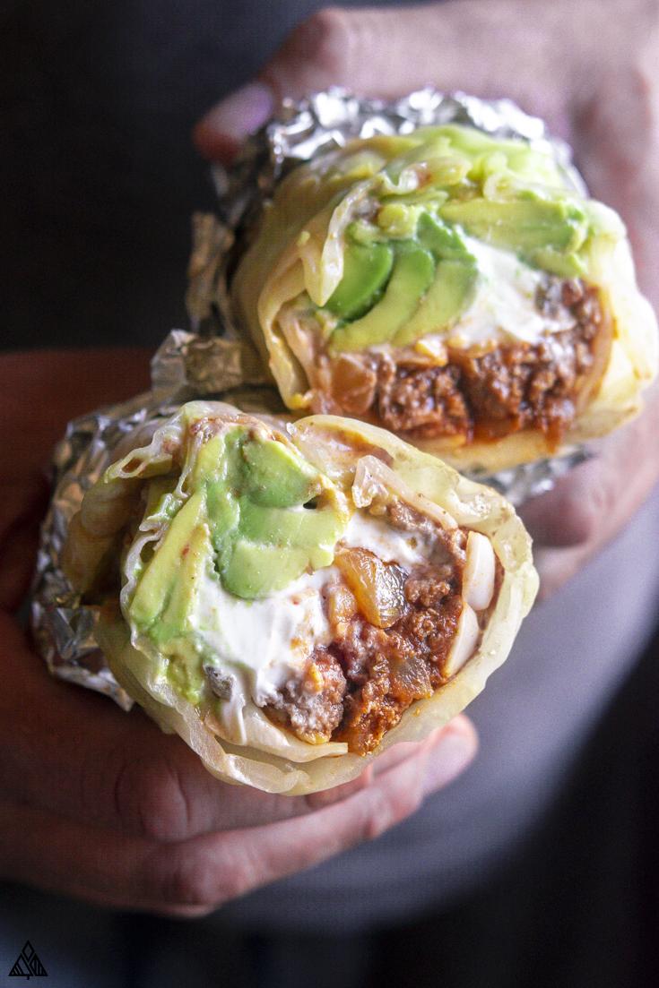 Top view of low carb burritos