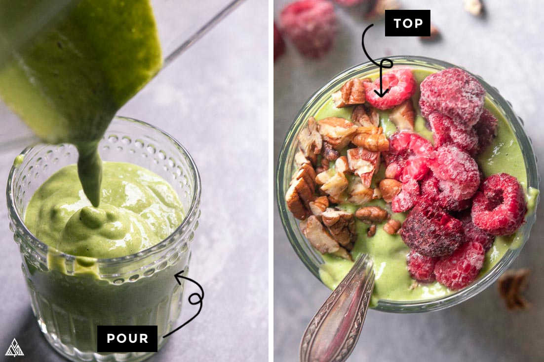 Collage of how to prepare low carb green smoothie