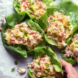 Rotisserie chicken salad in lettuce wrapped