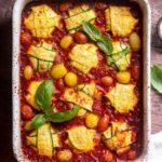 Zucchini ravioli in a casserole dish