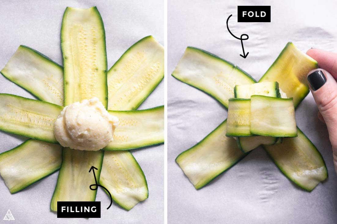 Steps on how to prepare zucchini ravioli
