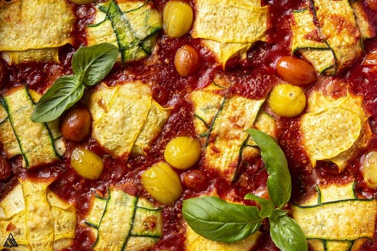 Closer look of zucchini ravioli