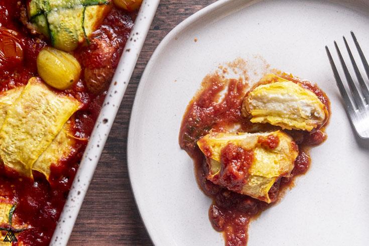 Zucchini ravioli in a plate
