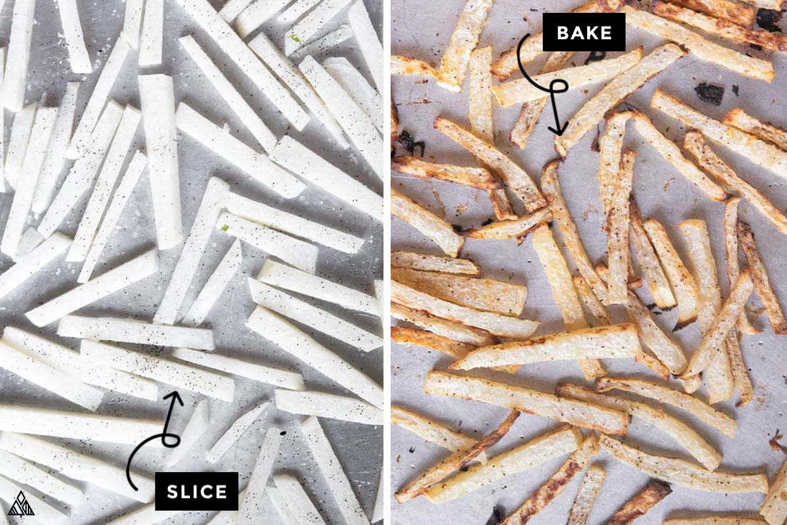 Collage of how to prepare jicama fries