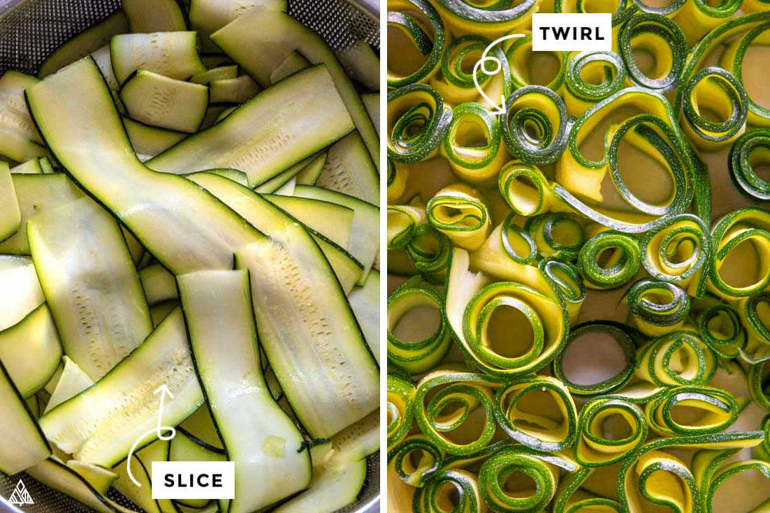 Collage of how to prepare zucchinis
