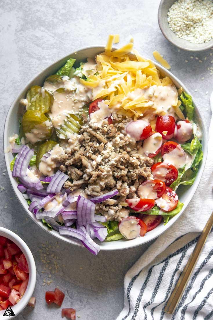 top view of big mac salad in a bowl