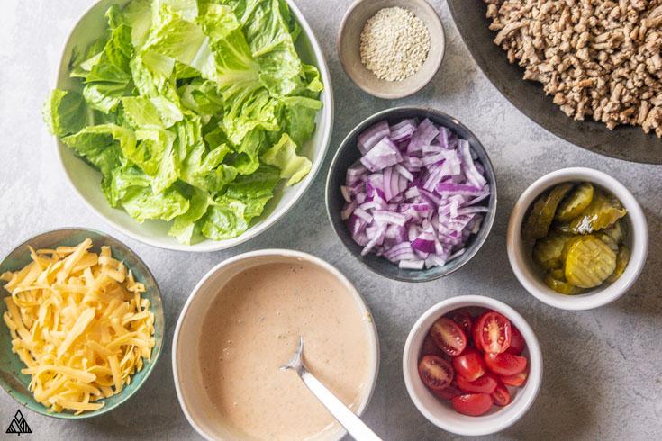 top view of big mac salad ingredients