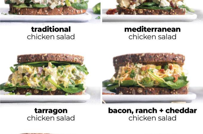 montage of chicken salad variations