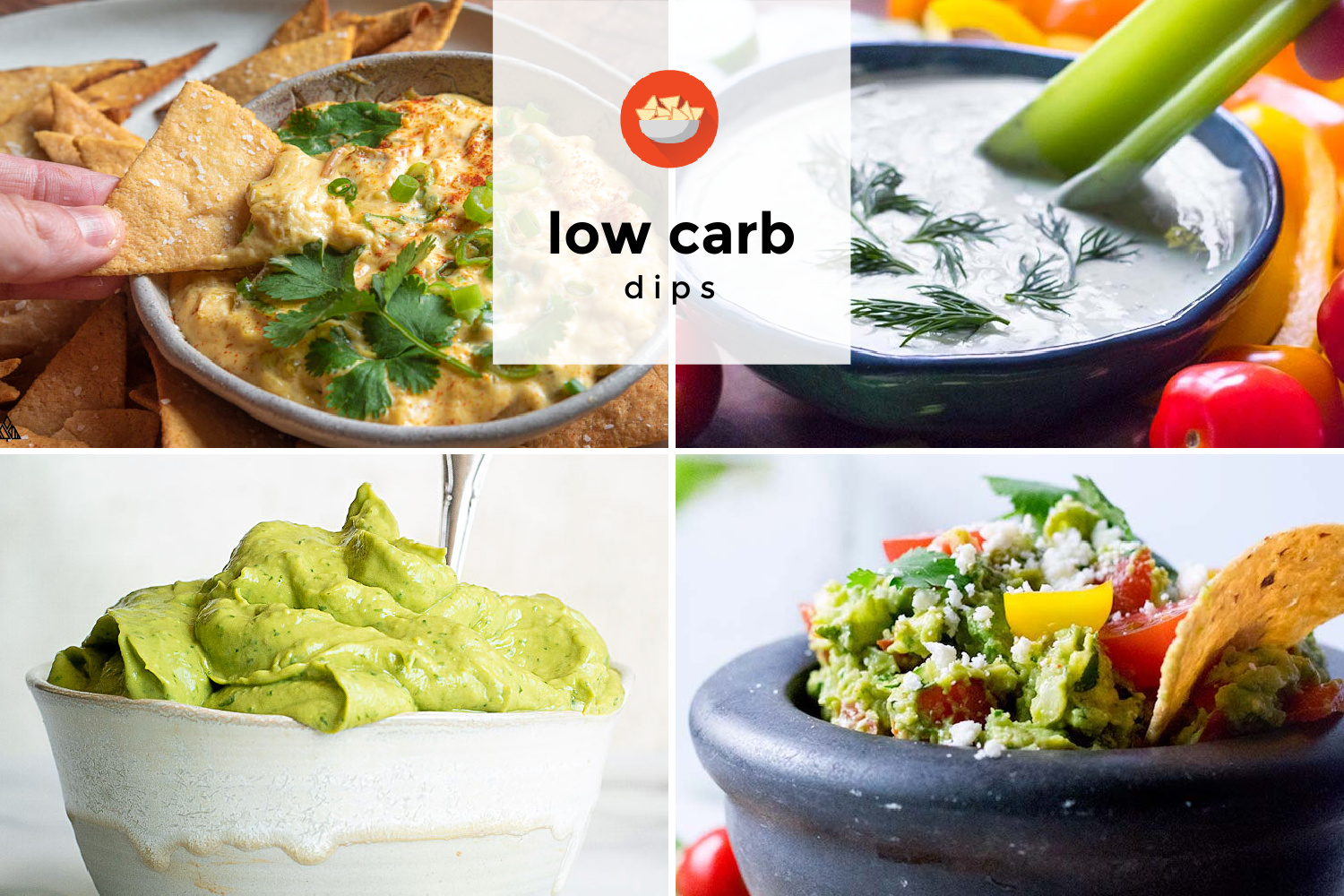 Collage of various low carb appetizers
