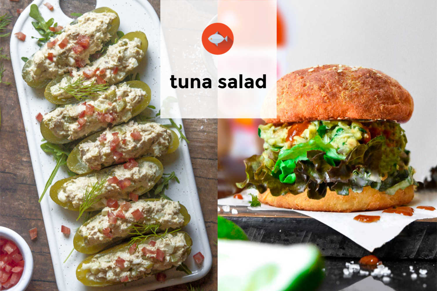 Collage of various tuna salad recipe