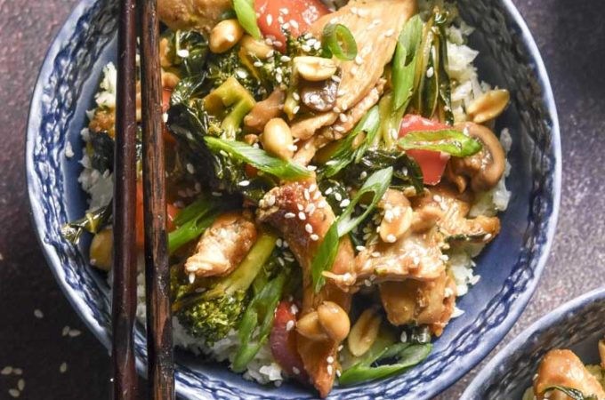 top view of a bowl of low carb chicken stir fry