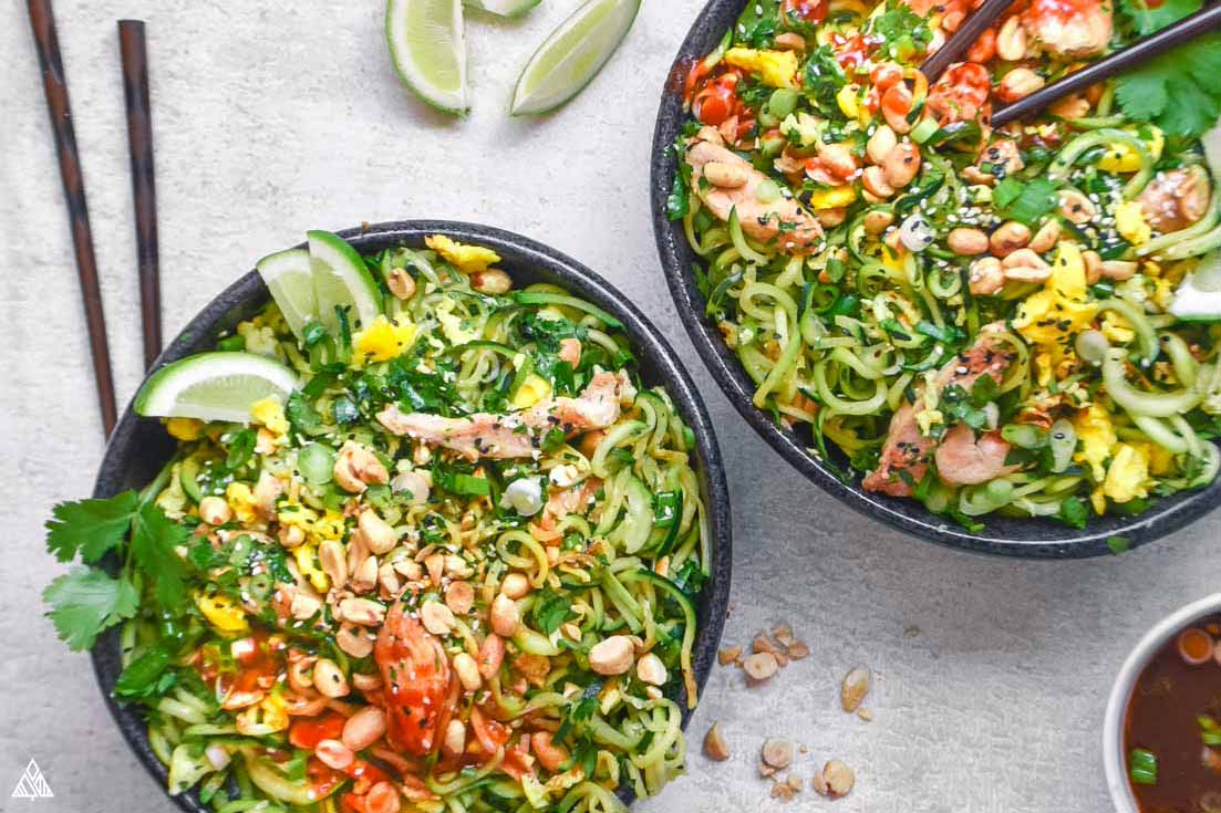 two bowls of low carb pad thai