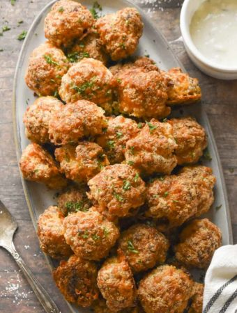 top view of low carb sausage meatballs