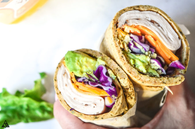Veggies wrapped with low carb wraps